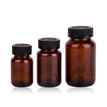 pharmaceutical medicine use amber glass bottle with childproof lid resistant lid