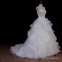 Profissional 16 anos Organza Layered Wedding Dresses 2016 com faixa