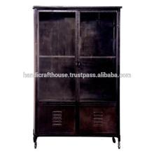 Industrial Metal Black Vintage mit 2 Schubladen Kleiderschrank