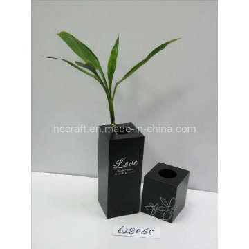 Wooden Flower Vase with Silk-Screen