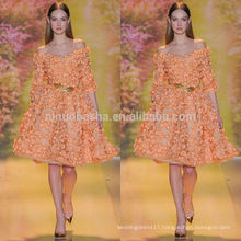 2014 Orange Off-Shoulder Half Sleeve Knee-length Short Evening Dress With Heavily Flower Accent NB0622