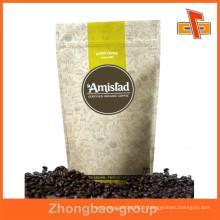 Résistant à l'humidité résistant à la hauteur papier blanc kraft sacs de café ziplock personnalisés avec votre design