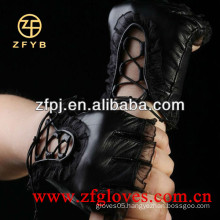 Half finger driving leather gloves with lace for ladies