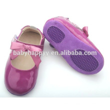 Wholesale Cheap price purple leather formal fancy baby girls shoes