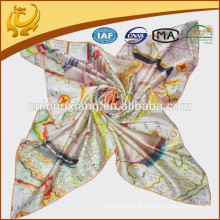 90*90cm Printed 100 Silk Satin Square Scarf