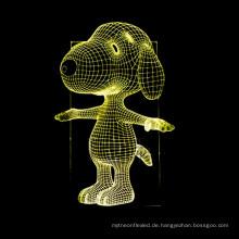 Snoopy 3D Lampe Nachtlicht Touch Tisch Schreibtischlampen, schöne 7 Farbwechsel Lichter mit Acryl Flat & ABS Base & USB Ladegerät
