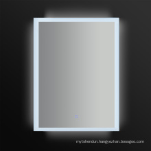 Newly-Designed Decorative Silver LED Bathroom Wall Mirror with Clock