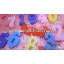 Huaming Venta al por mayor de cera de parafina coloridos numeral vela de cumpleaños / Cake Velas