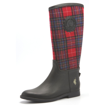Rubber Upper With Grid Cloth Rain Boots