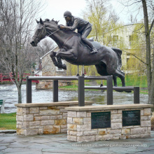 2018 новый дизайн сада, украшения из бронзы в натуральную величину прыгать лошадь статуя