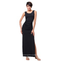 Kate Kasin Women's Sleeveless High Stretch Pleated Summer Sexy Side Split Maxi Dress KK000225-1