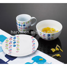 Ceramic 3 pcs Kids Breakfast Set With Leaf Decor