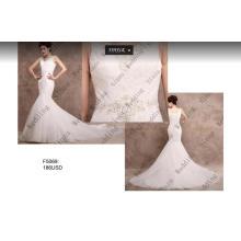Vente chaude dentelle perles sirène robe de mariée robe de mariée F5069