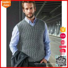 2017 Nueva chaqueta sin mangas del chaleco que hace punto del puente del mens del knit del cable del diseño