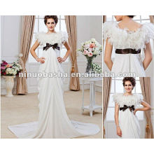 New Style Sheath Jewel Chapel Train Chiffon Black Bowknot Waistband High Waist Feather Wedding Dress Bridal Gown