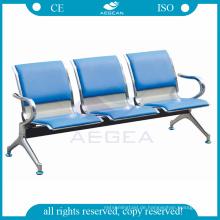 AG-TWC002 PU wasserdichte blaue Auflage Preis von Krankenhaus verwendet Edelstahl Wartesessel