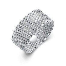 Whloesale Netted Round Ring Silber überzogener Strickring in Europa