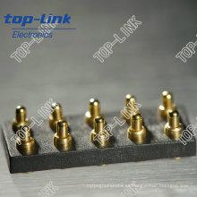 Conector de clavija de latón Pogo con muelle cargado, 10 contactos