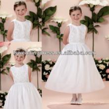 HF2013 2014 Novo desighs cetim branco vestido de esfera pregueado cintura comprimento de chá zíper de volta moda Bordado vestido de menina de flor