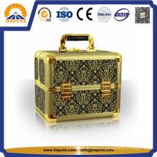 Estojo de maquiagem cosmético de alumínio portátil dourado (HB-3207)