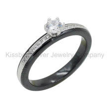 925 Silver Jewellery with Ceramic Ring, Prongs Setting Jewelry (R21127)