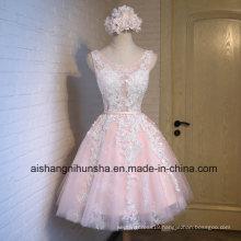 Fashion Short Pink Lace Flower Banquet Short Evening Dress