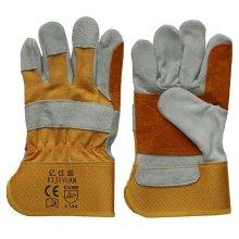 Double Palm Cut Resisitant Cowhide Split Leder Arbeitshandschuhe für Bergleute
