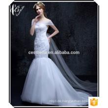 Kundenspezifisch in China Meerjungfrau Puffy Rock Schatz Lace-up Pleats Hochzeitskleid