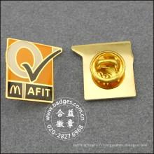 Badge carré en or, épinglette en métal époxy-dégoulinant (GZHY-BADGE-025)