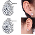 Halo Stud Earrings 18K White Gold Plated Waterdrop Square Brillant Cut Earrings