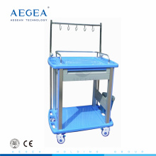 AG-IT002A3 With one drawer hospital economic rail plastic trolleys on wheels