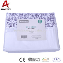 Embroidery ruffle cheap latest design bed sheet sets with zipper