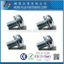 Feito em Taiwan Phillips Pozi Torx Parafusos de cabeça de pan e Combinação Antenas de fecho de dentes externas Assentos de parafusos SEMS
