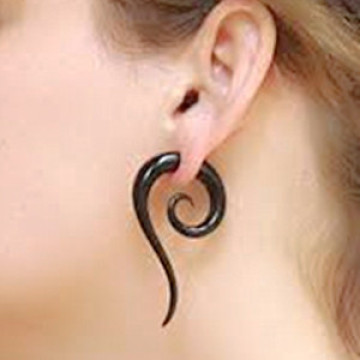 Black Expander Spiral Ear Stretching Piercing