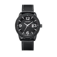 2017 nueva moda reloj 46mmcase IP chapado color negro correa de cuero