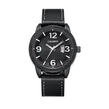 2017 новая мода наручные часы 46mmcase IP покрытие Цвета черный кожаный ремешок