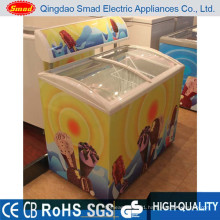 138L Curved Glass Door Ice Cream Display Chest Freezer