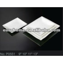 White square porcelain Plate for restaurant coffee club hotel P0551