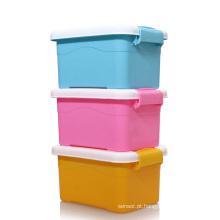 Recipiente de caixa de armazenamento de plástico doméstico colorido (SLSN019)
