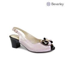 Беверли розовый кожаный сандалии новый дизайн