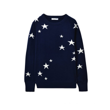 PK18A43HX 100% Cashmere Sweater Star Pattern Jacquard Crew Neck Sweater For Women