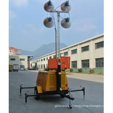Multi-purpose móvel silencioso refrigerado a água torre ligth diesel gerador preço