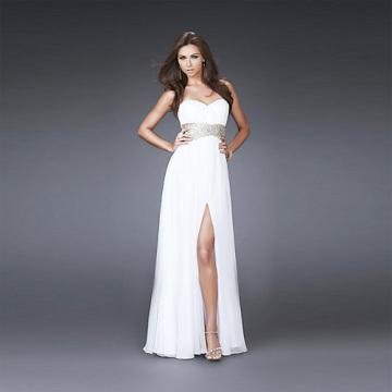 Flowing Sheath Column Sweetheart Neckline Strapless Floor-length High-waist Chiffon Slit Beading Prom Dress