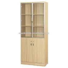 Étagère en bois en teck à deux portes pour bureau utilisé, mobilier de bureau Commerical (KB843)