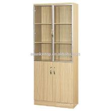 Двухдверная книжная полка из дерева из тикового дерева для офиса, Коммерческая офисная мебель (KB843)
