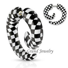 Unique Design Acrylic Black & White UV Fake Ear Spirals