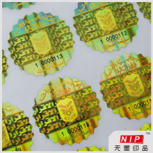 Gold Tamper Proof Hologram Stickers Roll with Fluorescent Ink