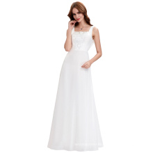 Kate Kasin Sleeveless Square Neck White Long Chiffon Evening Dress 2016 8 Size US 2~16 KK000131-1
