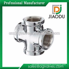 nickel plated or chrome plated brass pneumatic cross fittings