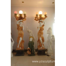 Marble Woman Statue with Lamp For Sale